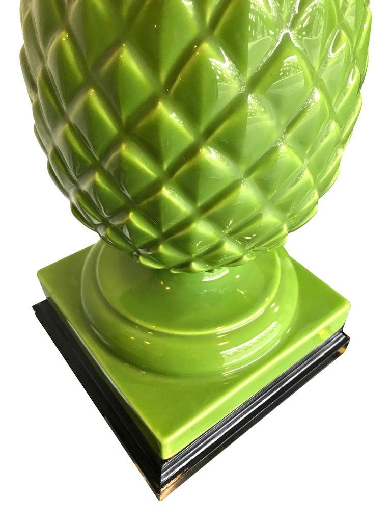 Pair of Large Italian Ceramic Pineapple Lamps For Sale 3
