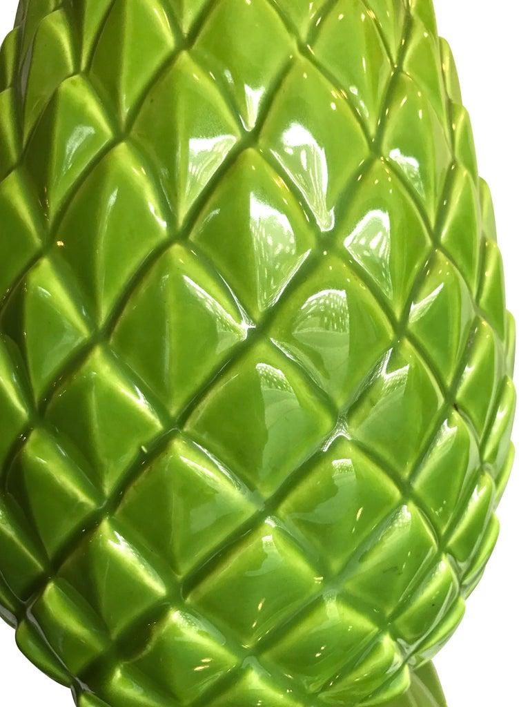 Pair of Large Italian Ceramic Pineapple Lamps For Sale 4