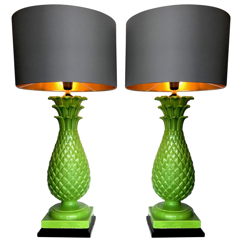 Pair of Large Italian Ceramic Pineapple Lamps