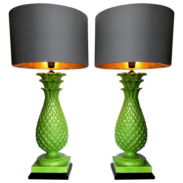 Pair of Large Italian Ceramic Pineapple Lamps For Sale