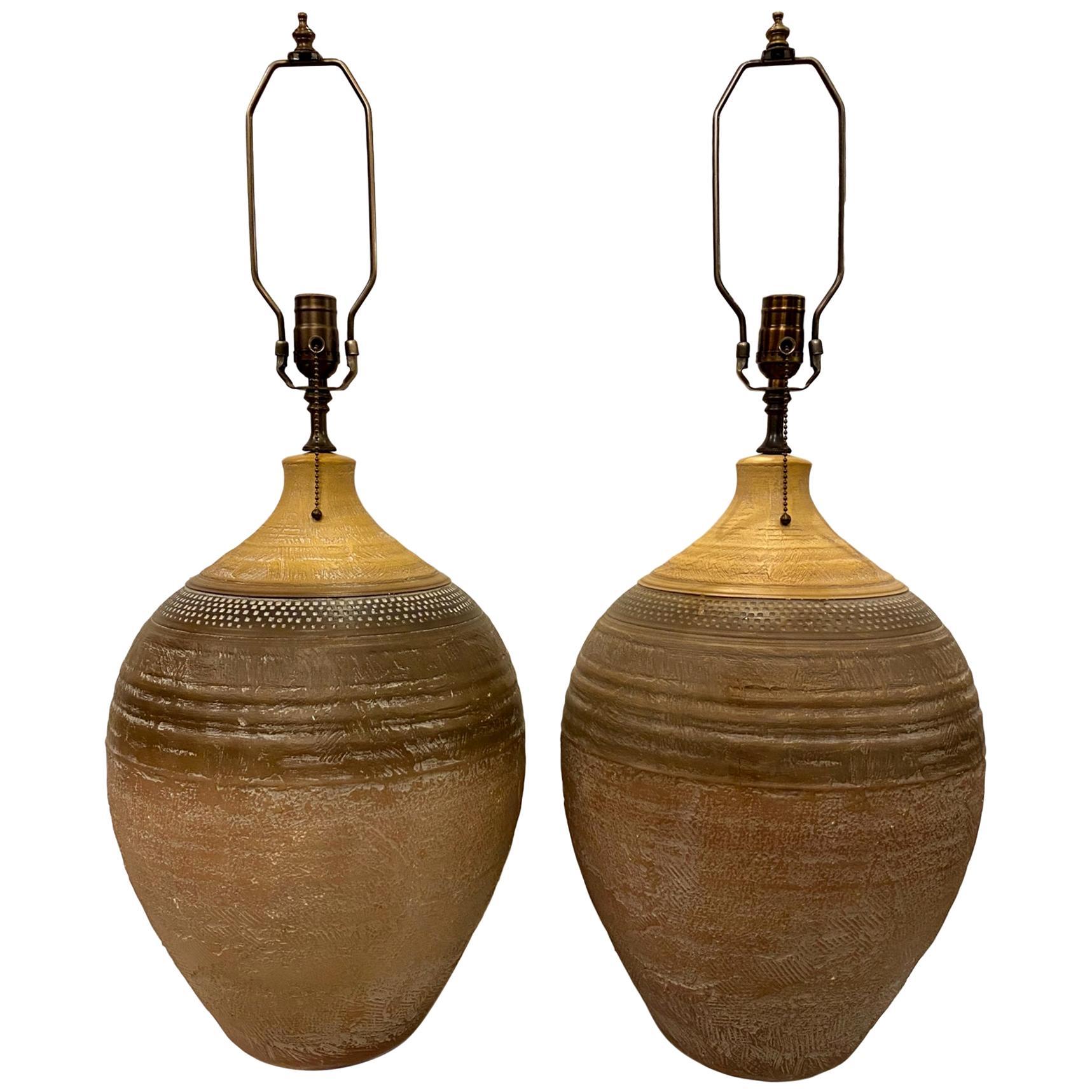 Pair of Large Italian Ceramic Table Lamps