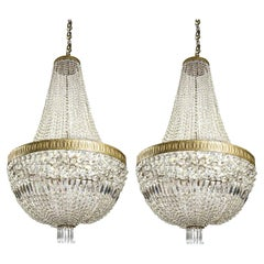 Pair of Large Italian Crystal Chandeliers Empire Style, 20th Century