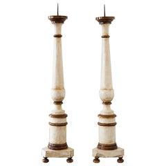Pair of Large Italian Floor Pricket Sticks, circa 1780