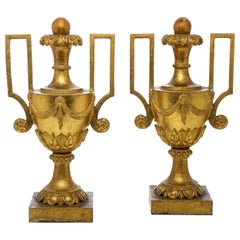 Pair of Large Italian Gilt Vases 18th Century Neoclassical Carved Portapalme