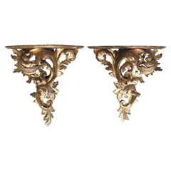 Pair of Large Italian Giltwood Brackets