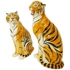 Pair of Large Italian Glazed Terracotta Tigers