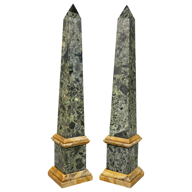 Pair of Large Italian Grand Tour Verde Antico and Siena Marble Obelisks