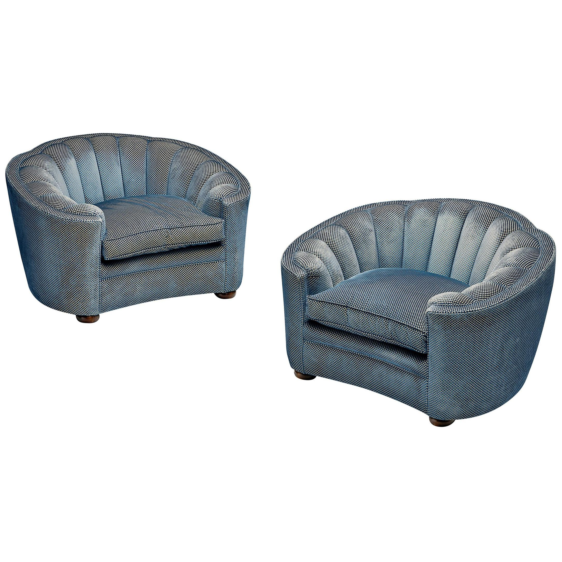 Pair of Large Italian Lounge Chairs in Soft Blue Upholstery