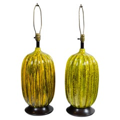 Pair of Large Italian Melon Form Ceramic Lamps, circa 1960