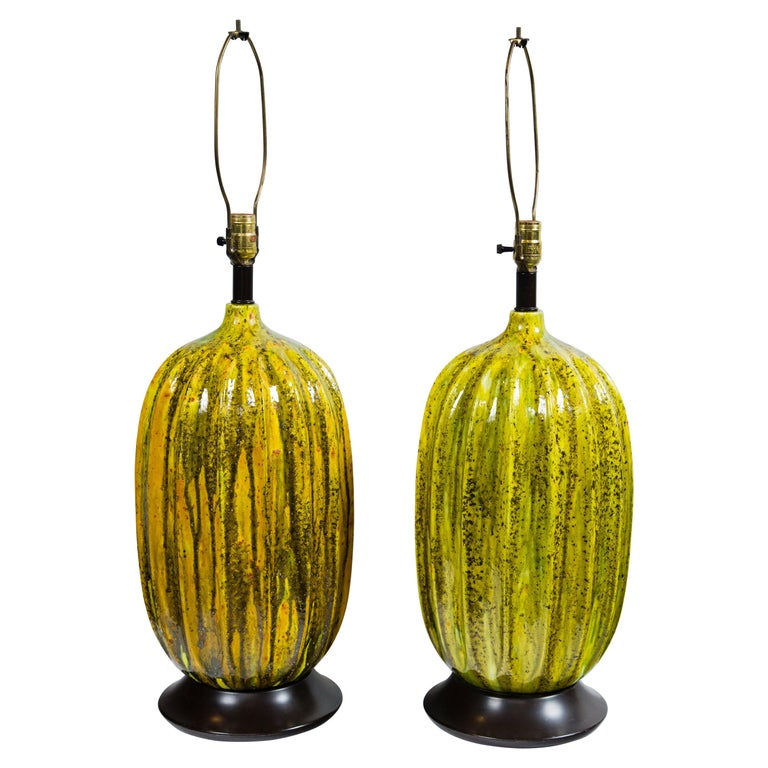Pair of Large Italian Melon Form Ceramic Lamps, circa 1960 For Sale