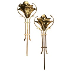 Pair of Large Italian Moderne Sconces