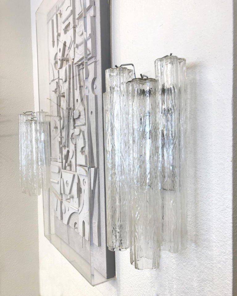 """Pair of Large Italian Murano Glass """"Tronchi"""" Wall Sconces by Venini In Excellent Condition For Sale In Palm Springs, CA"""