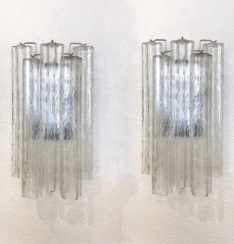 """Late 20th Century Pair of Large Italian Murano Glass """"Tronchi"""" Wall Sconces by Venini For Sale"""