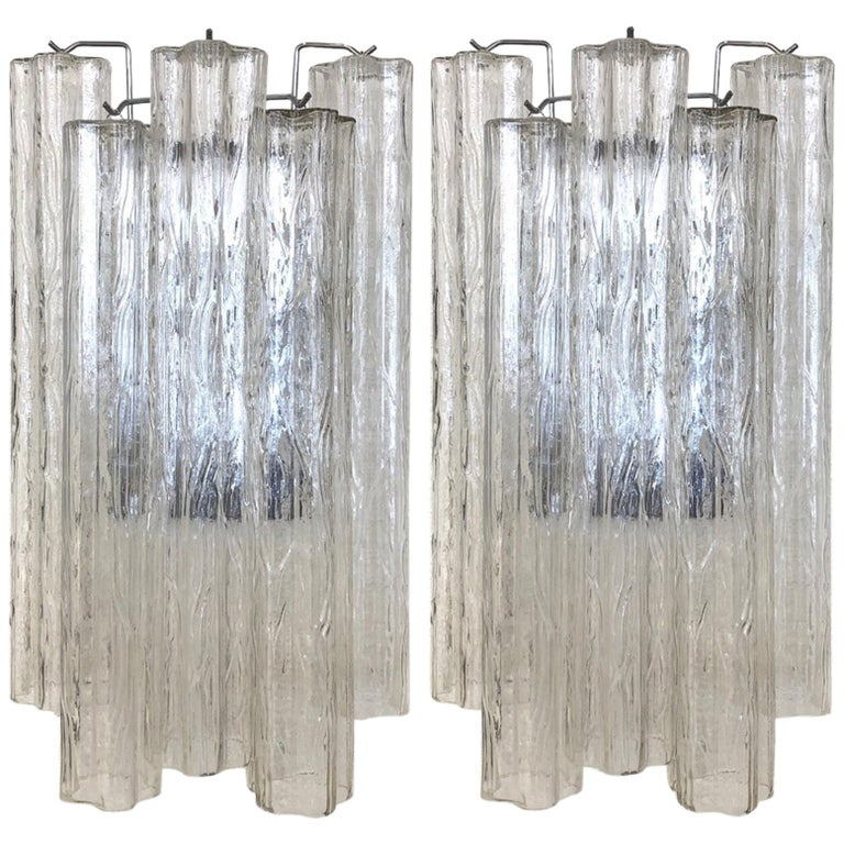 """Pair of Large Italian Murano Glass """"Tronchi"""" Wall Sconces by Venini For Sale"""