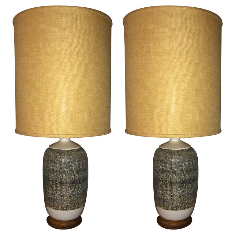 Pair of Large Italian Pottery Lamps For Sale 5