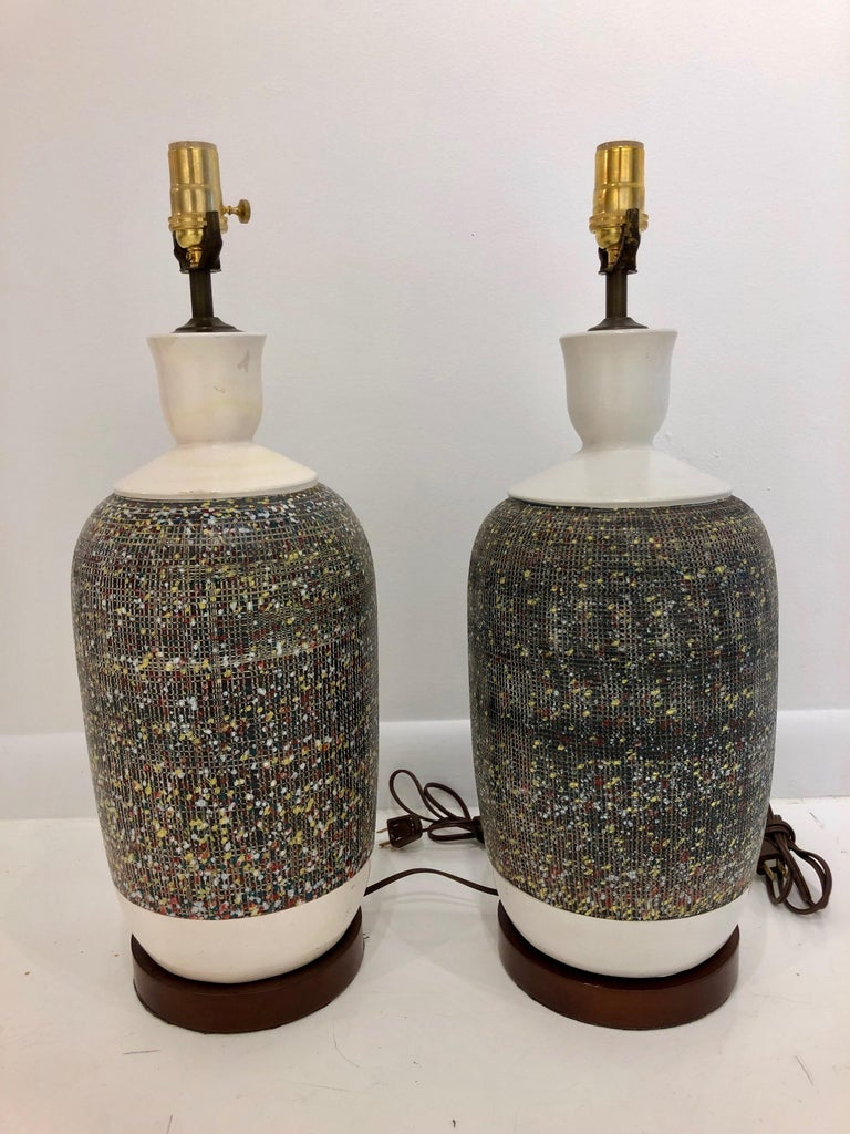 Mid-20th Century Pair of Large Italian Pottery Lamps For Sale