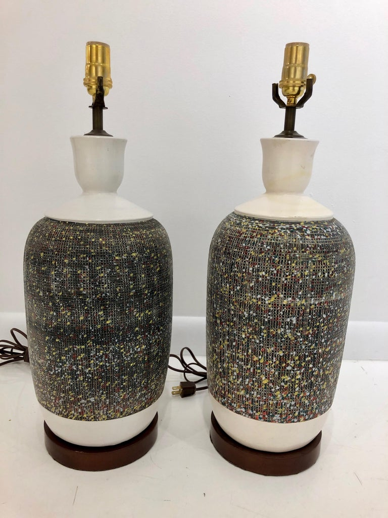 Pair of Large Italian Pottery Lamps For Sale 3