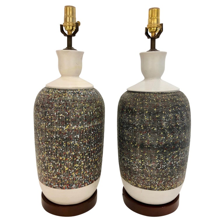 Pair of Large Italian Pottery Lamps For Sale