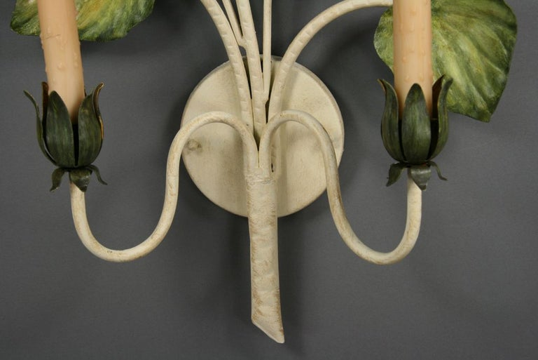 Mid-20th Century Pair of Large Italian Tole Sconces For Sale