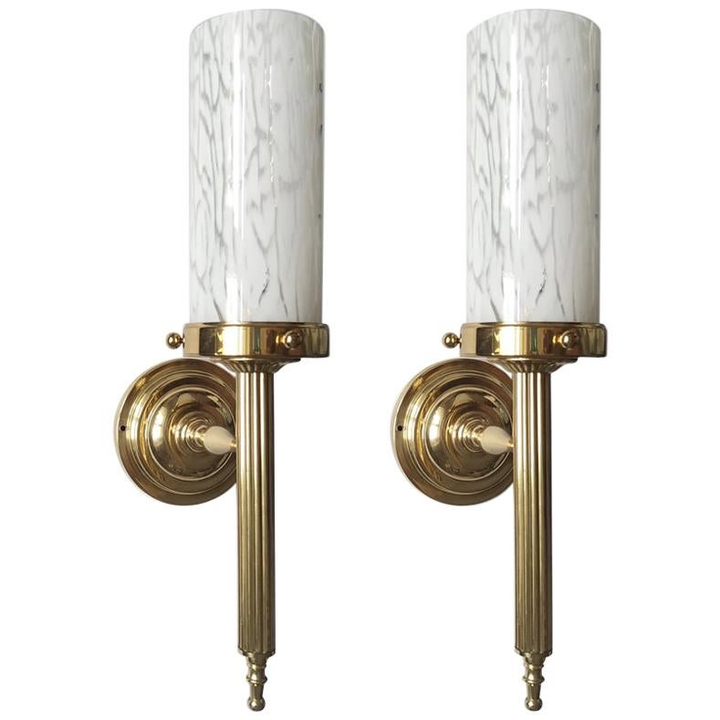 Pair of Large Italian Vintage Blown Glass and Brass Wall Lights Sconces, 1960s