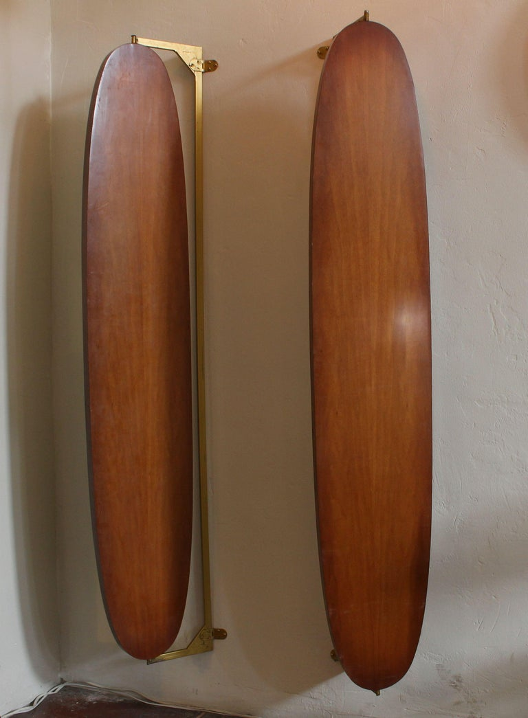 Mid-Century Modern Pair of Large Italian Wall Mirrors For Sale