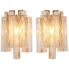 Pair of Large Italian Wall Sconces, Designed by Toni Zuccheri for Venini