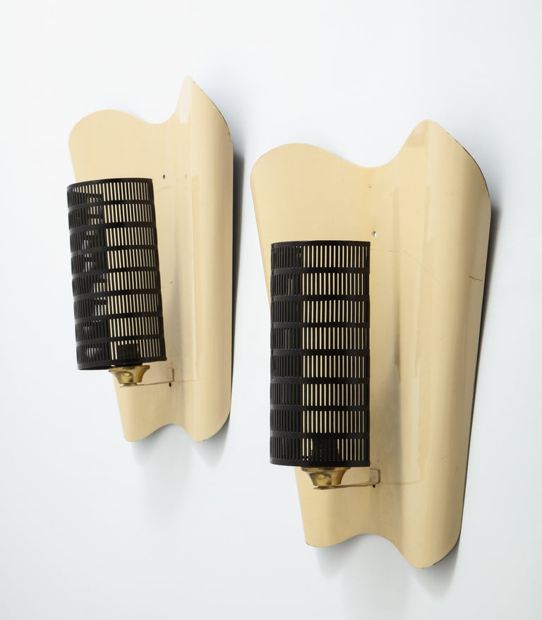 Mid-Century Modern Pair of Large Jacques Biny Wall Sconces with Perforated Metal For Sale