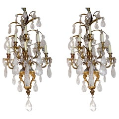 Pair of Large Jansen Bronze Framed Rock Crystal Wall Sconces, circa 1900