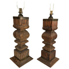 Pair of Large Japanese Architectural Cypress Baluster Lamps