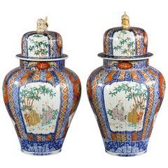 Pair of Large Japanese Imari Pattern Covered Vases, circa 1860