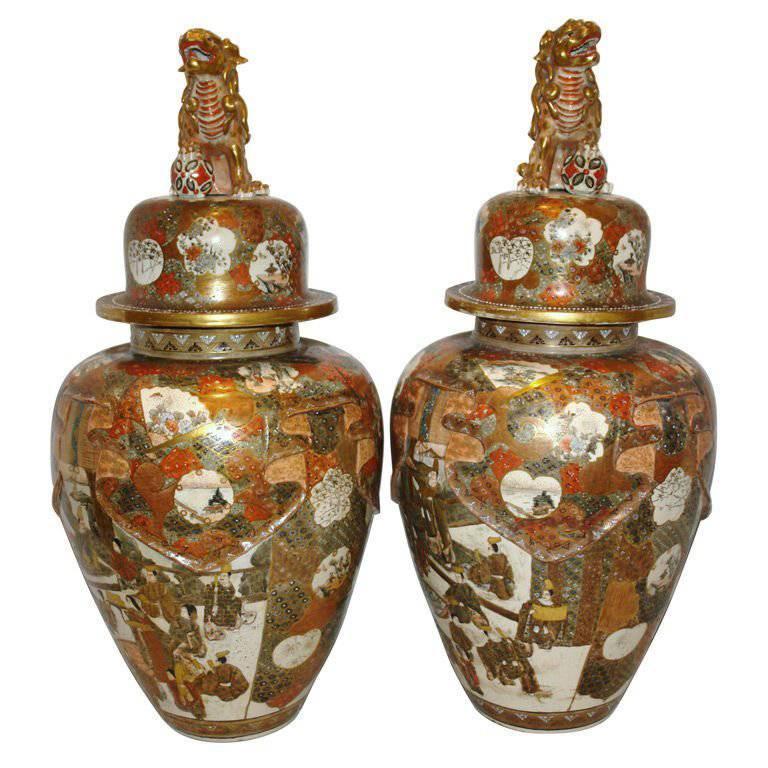 Pair of Large Japanese Porcelain Vases
