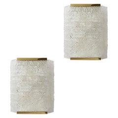 Pair of Large J.T. Kalmar Wall Lights, circa 1960, Textured Glass abd Brass