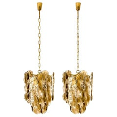 Pair of Large Kalmar Chandeliers Citrus Swirl Smoked Glass, Austria, 1969