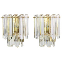 Pair of Large Kalmar Crystal Glass Sconces Wall Lights, Austria, 1970s