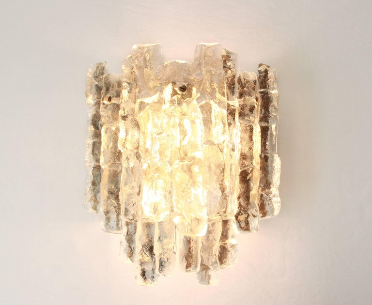 Pair of Large Kalmar Sconces Murano Wall Lights, Austria, 1960s In Good Condition For Sale In Aachen, DE