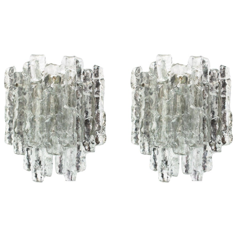 Pair of Large Kalmar Sconces Murano Wall Lights, Austria, 1960s For Sale