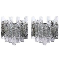 Pair of Large Kalmar Sconces Wall Lights 'Soria', Glass Nickel, 1970s