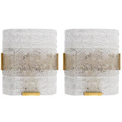 Pair of Large Kalmar Textured Glass and Brass Sconces Wall Lights, 1960