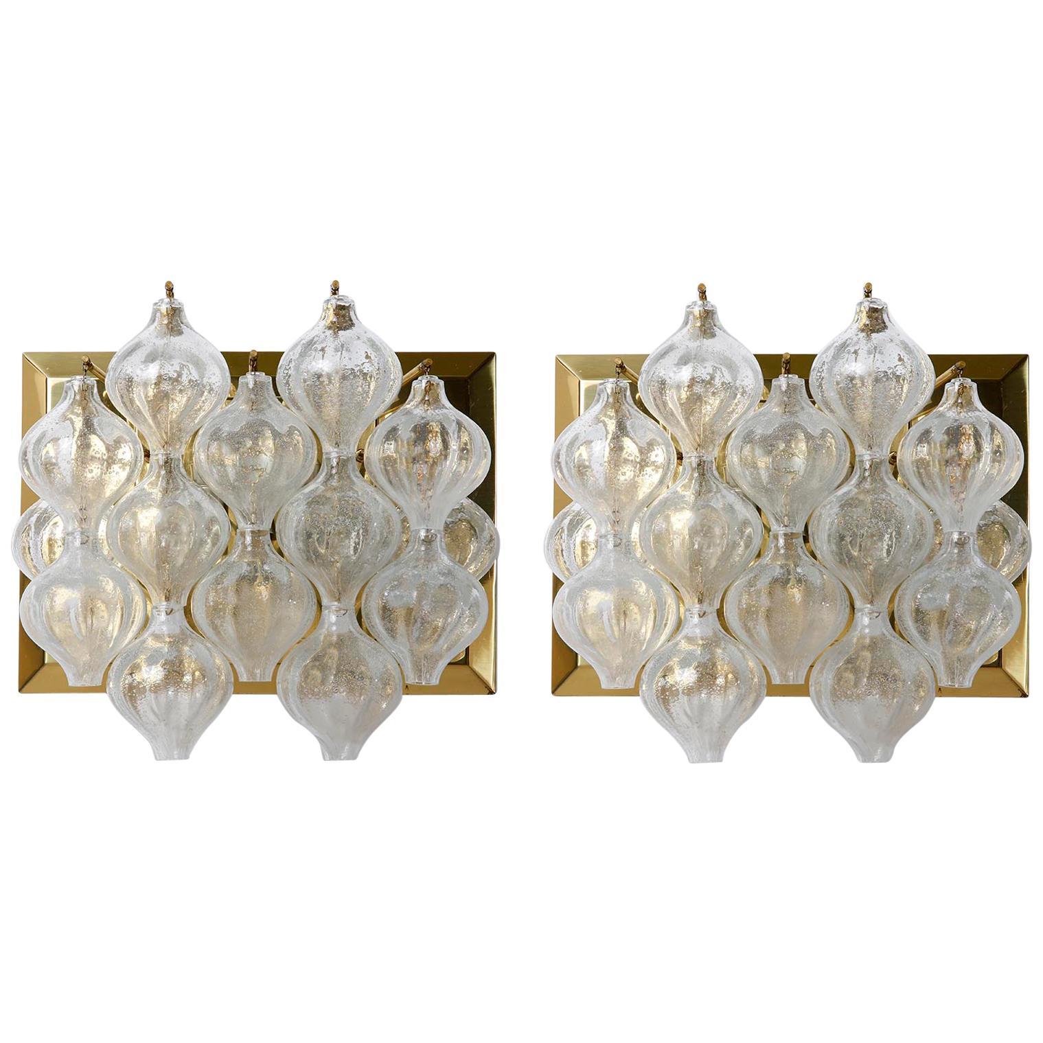 Pair of Large Kalmar 'Tulipan' Wall Lights Sconces, Glass Brass, 1960s