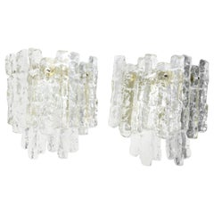 Pair of Large Kalmar Wall Lights Ice Glass, 1970s, Vienna, Austria