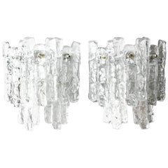 Pair of Large Kalmar Wall Lights Ice Glass, Vienna Austria, 1970s