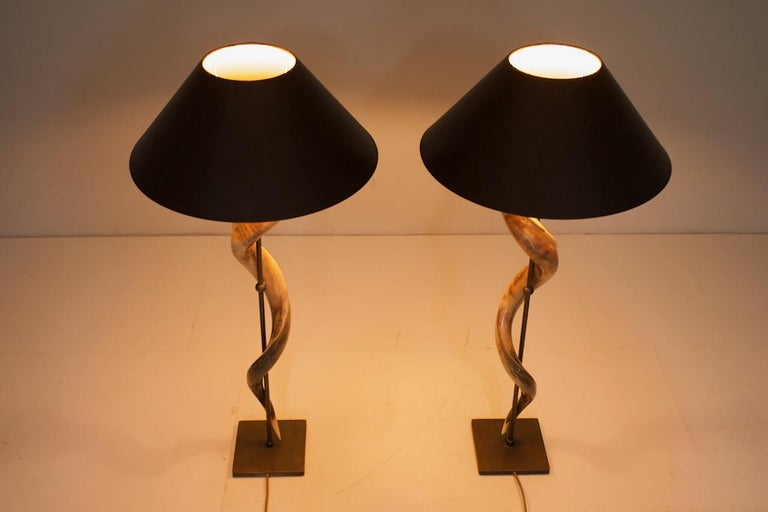 Mid-Century Modern Pair of Large Kudo Horn Table or Floor Lamps For Sale