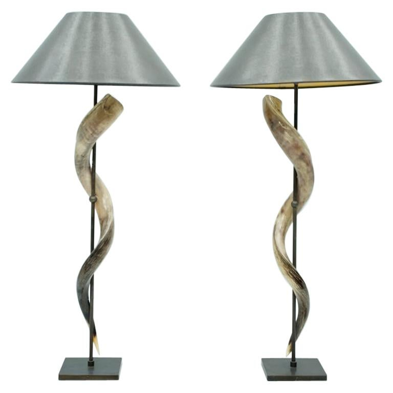 Pair of Large Kudo Horn Table or Floor Lamps
