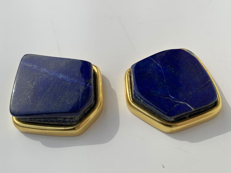 Hollywood Regency Pair of Large Lapis Lazuli Decorative Paperweights For Sale