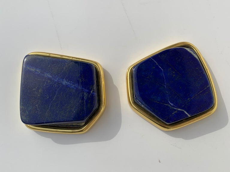Polished Pair of Large Lapis Lazuli Decorative Paperweights For Sale