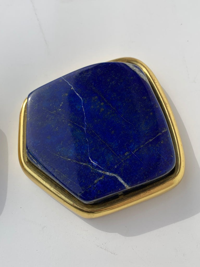 Pair of Large Lapis Lazuli Decorative Paperweights In Good Condition For Sale In North Hollywood, CA