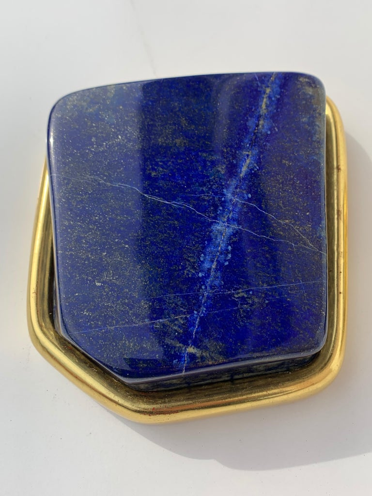 Contemporary Pair of Large Lapis Lazuli Decorative Paperweights For Sale