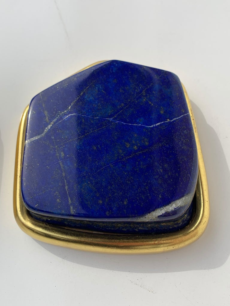 Pair of Large Lapis Lazuli Decorative Paperweights For Sale 2