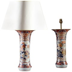 Pair of Large Late 17th Century Imari Trumpet Vases, Mounted as Table Lamps
