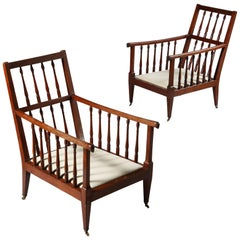 Pair of Large Late 19th Century Mahogany Wood English Library Armchairs